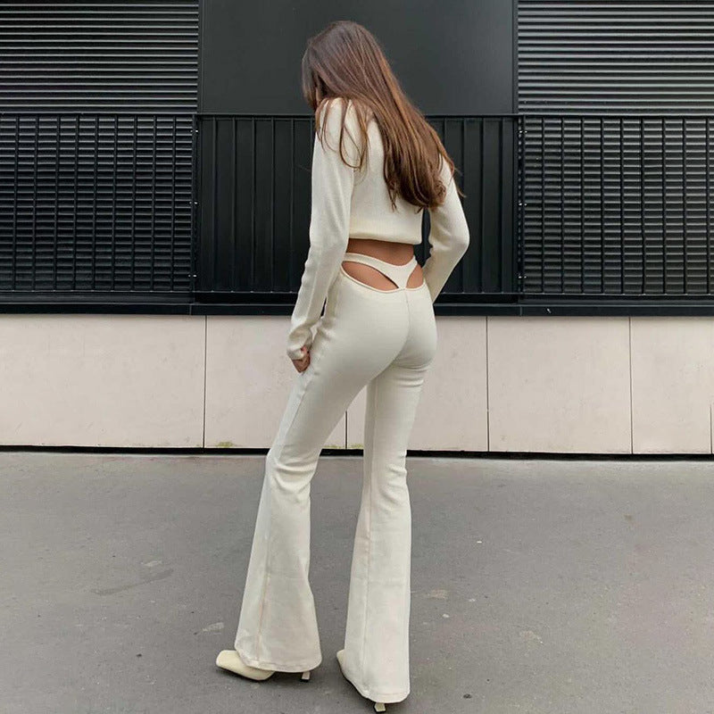 Fashion High-waist Hollow out Flared Trousers