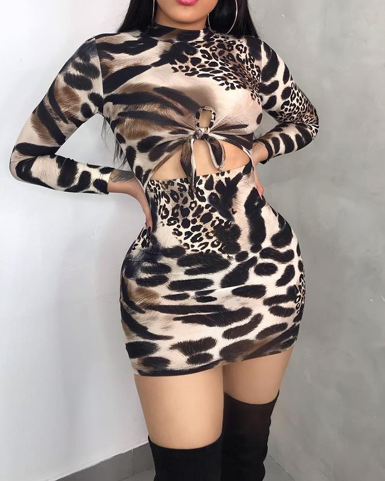 Elegant Snake Print Bodycon Slim Dress