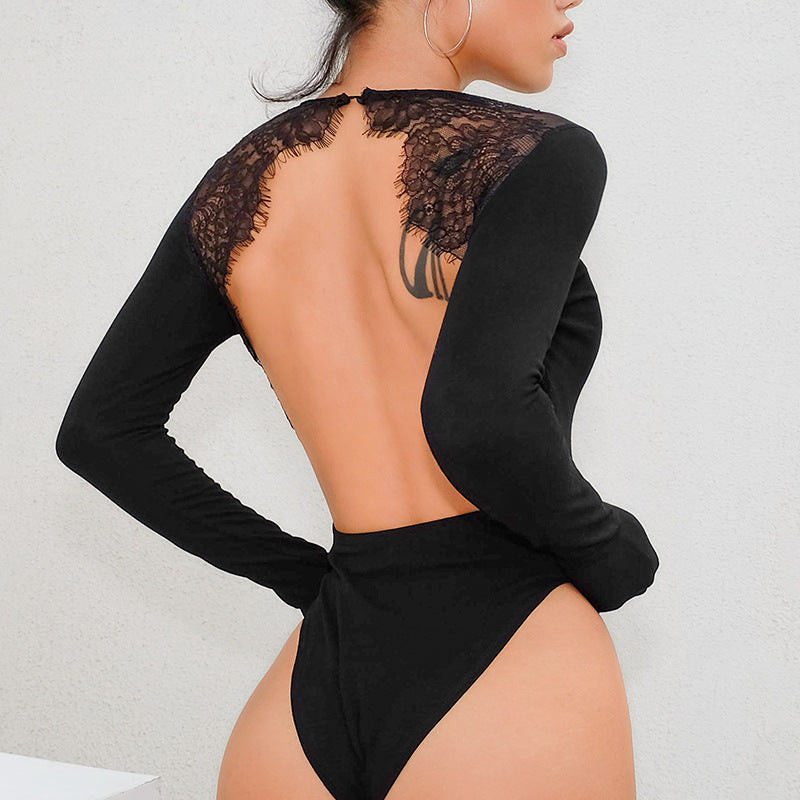 Sexy Backless Lace Patchwork Slim Bodysuit