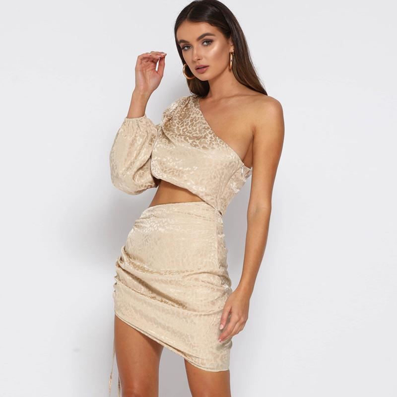 One Shoulder Mini Party Dress (2 Piece Set) - Asia-Peak