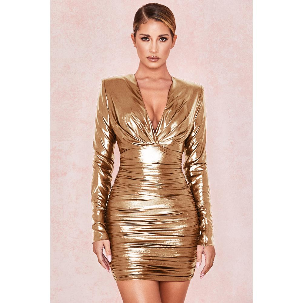 Glitter Deep V Pleated Irregular Dress - Asia-Peak