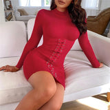 Casual Bodycon Knitted Dress - Asia-Peak