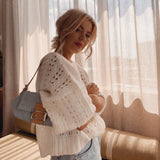 Knitted Backless Hollow Sweater
