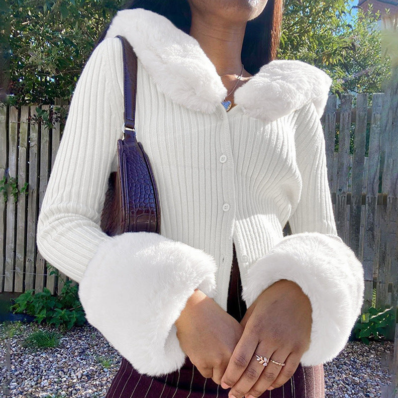 Fall Winter Fluffy Faux Fur Knitted Coats
