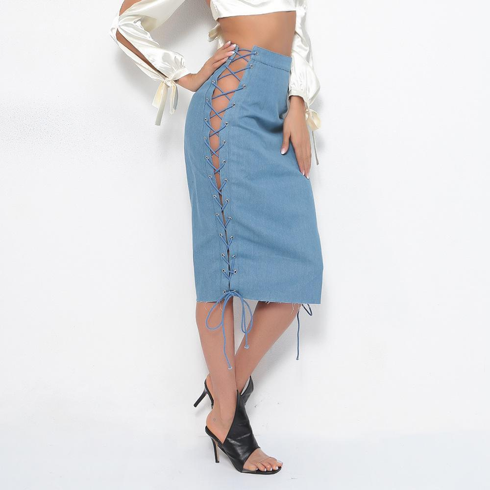 Solid Hollow out Lace up Denim Skirt