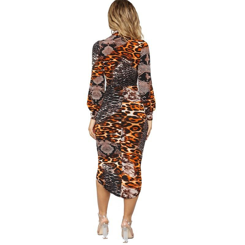 Deep V Leopard Stitching Print Dress - Asia-Peak