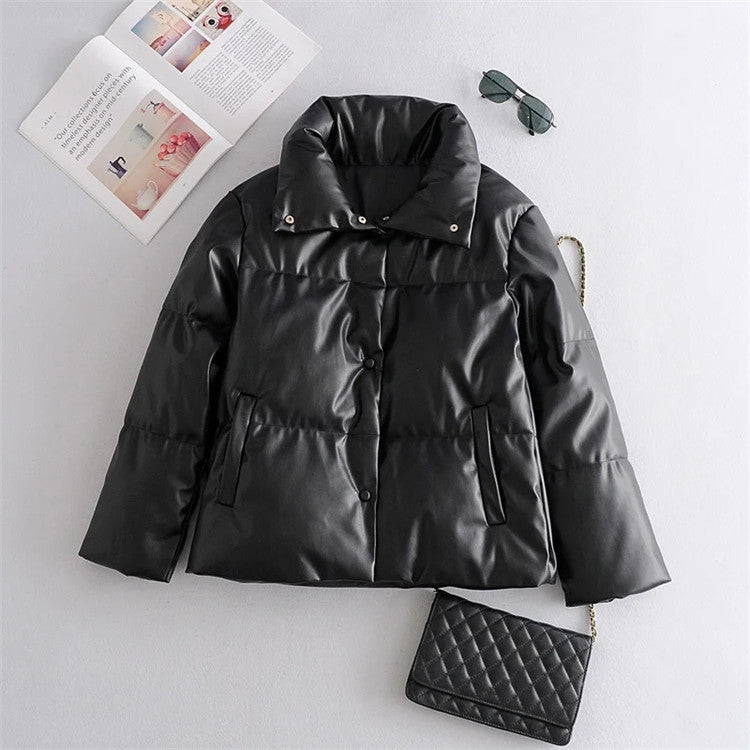 Thick Warm PU Faux Leather Padded Coat(🚀FREE SHIPPING)