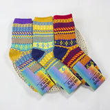 Retro Ethnic Style Knit Socks Pile Up Socks Tube Socks for Women Lady Autumn Winter