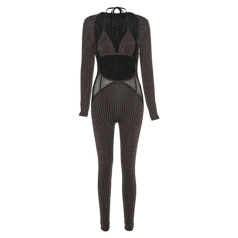 Sexy Mesh Shinny Patchwork Jumpsuits