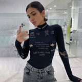 Fashion Print Skinny Turtleneck Bodysuit