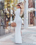 High slit one-shoulder hollow out knitted dress - Asia-Peak