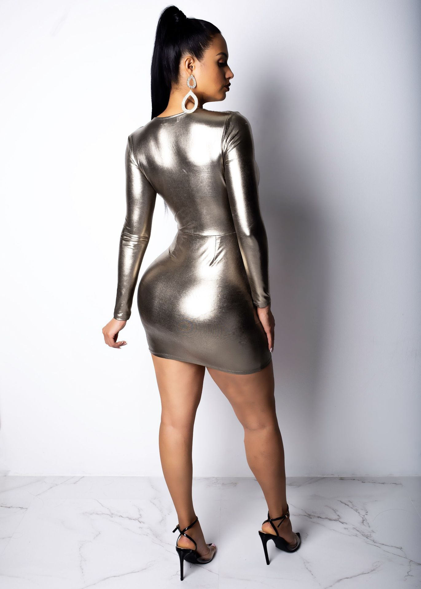 Bronzing Long Sleeve Mini Dress - Asia-Peak