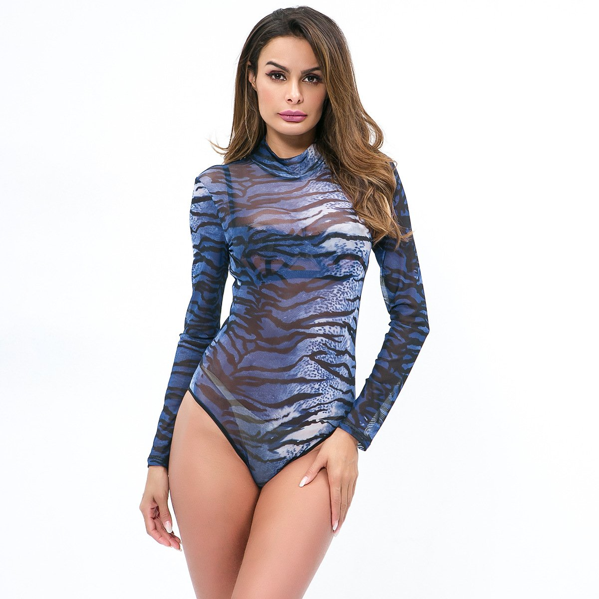 Mesh see-through leopard print bodysuit - Asia-Peak