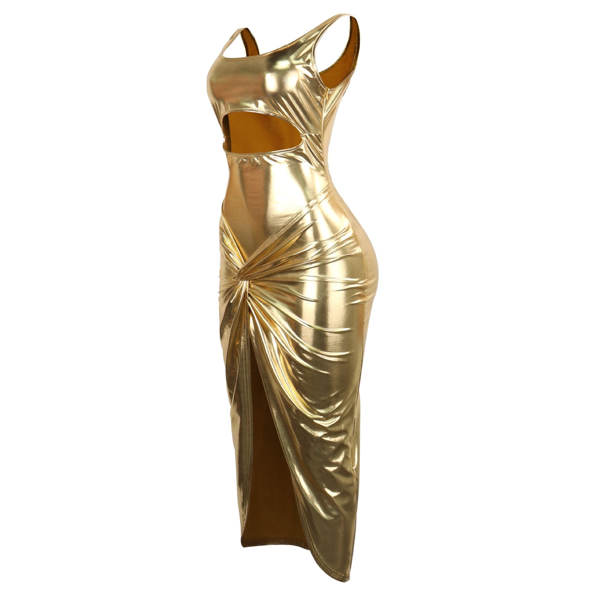 PU Leather Gold Slit Midi Dress