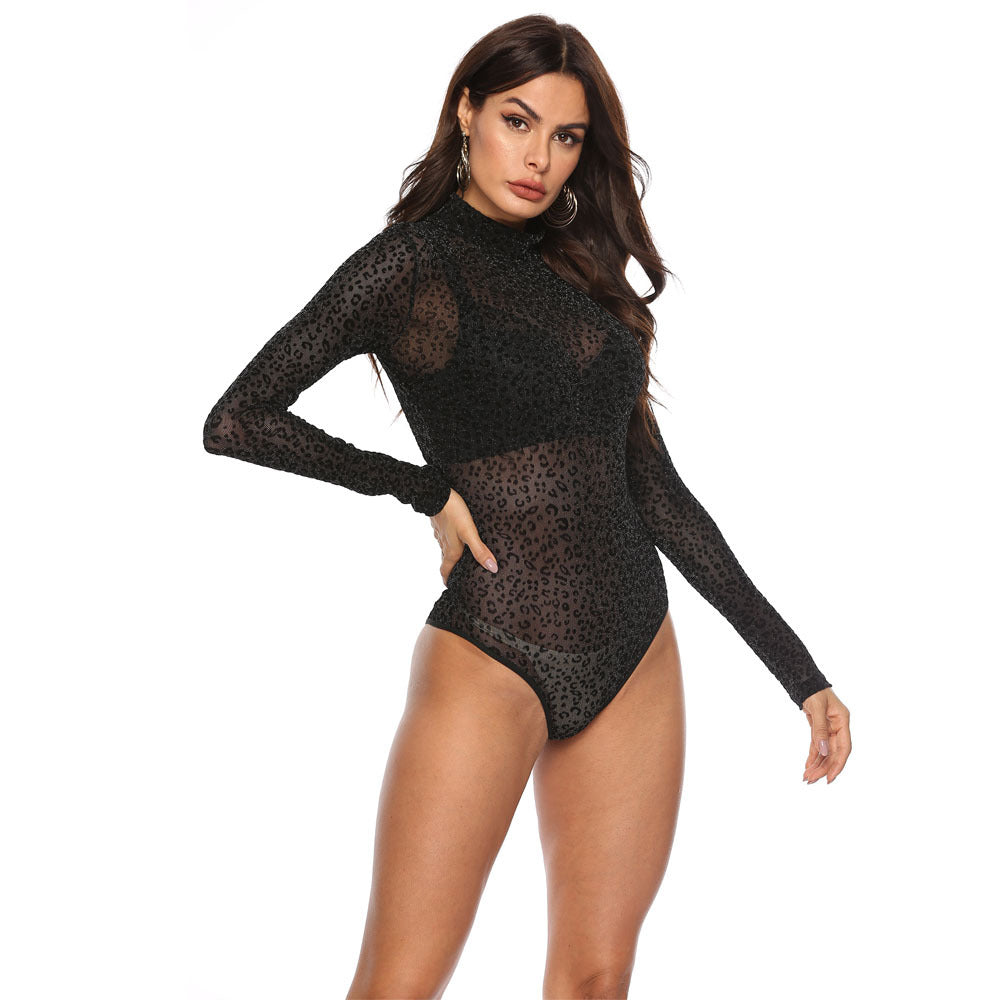 Micro flash Leopard print sexy see-through turtleneck long sleeve bodysuit