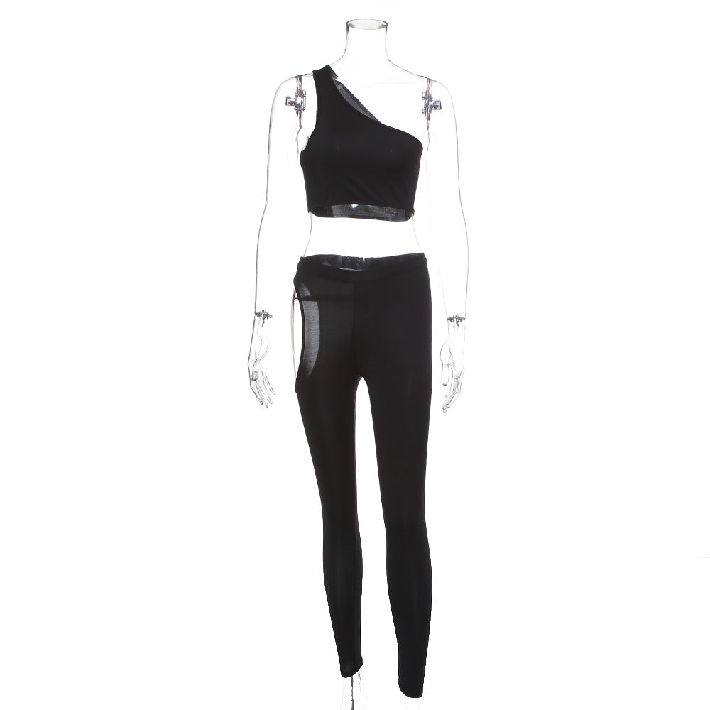 Hollow Out Bodycon One Shoulder Skinny Sport suit
