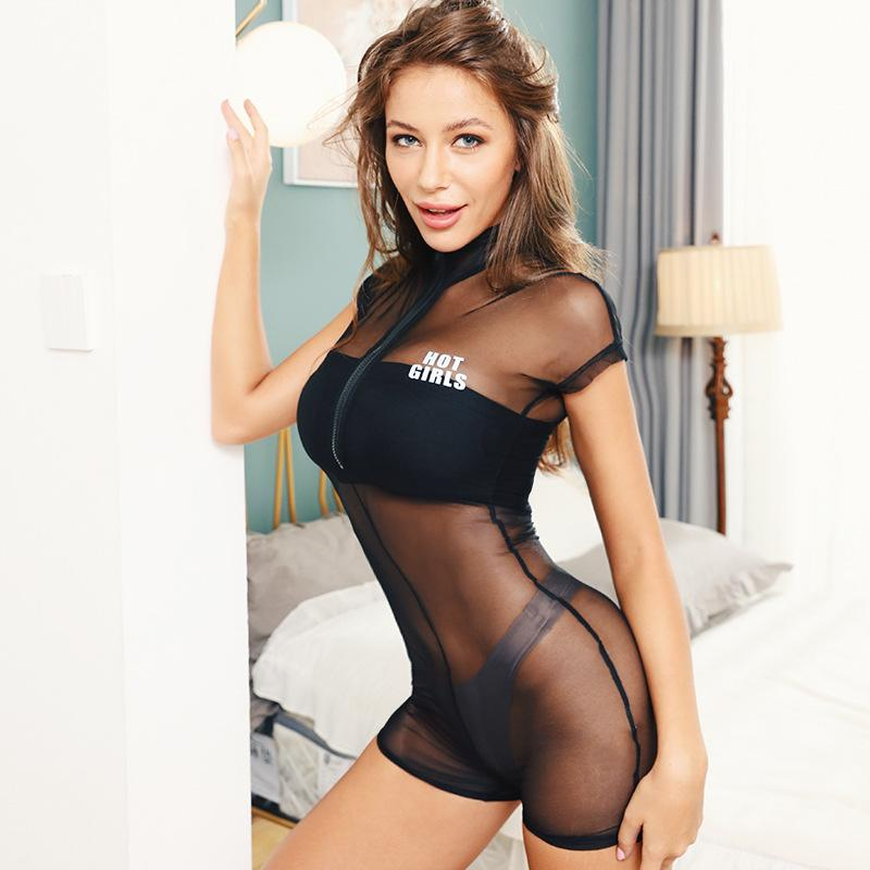 Mesh see-through front zipper bodysuit - Asia-Peak