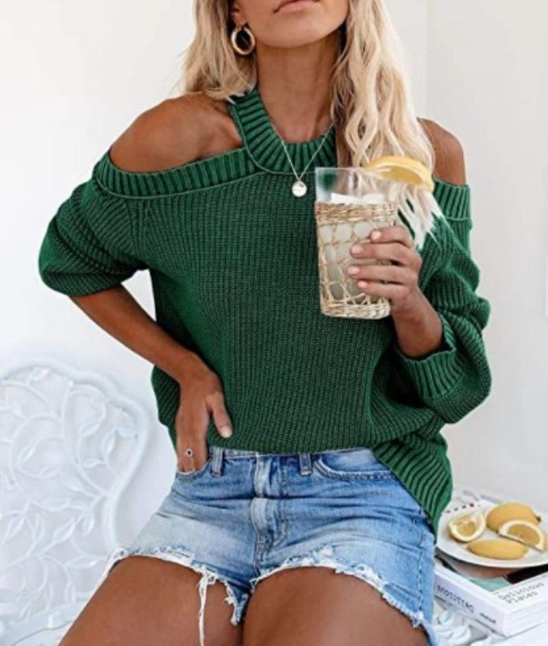 Round Neck Strapless Solid Sweater
