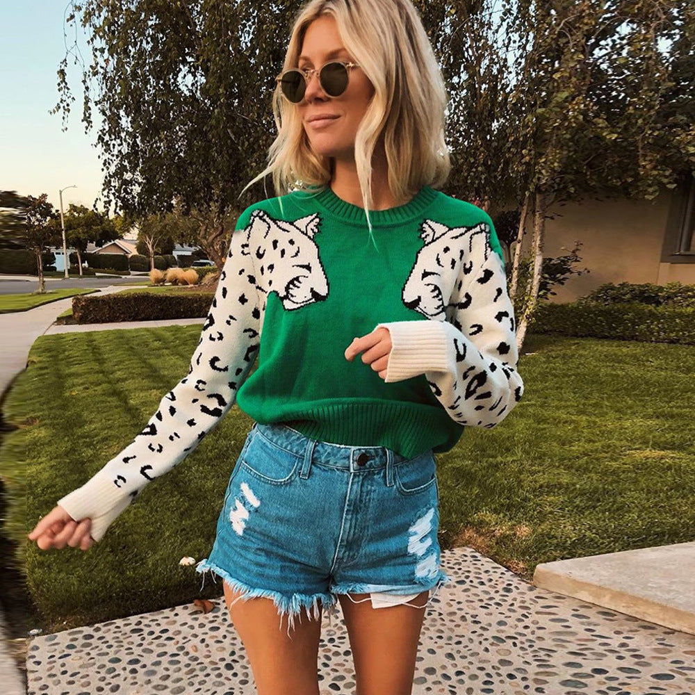 Leopard Pattern Long Sleeve Autumn Knitted Cropped Sweater