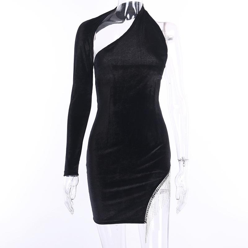 One-shoulder slim velvet dress - Asia-Peak