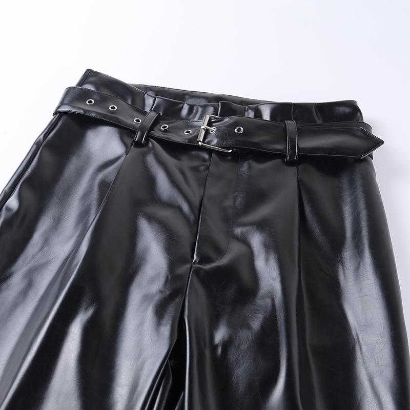 PU Leather Straight Legs Belted Casual Trousers