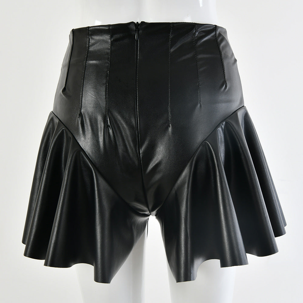 Winter Ruffles Sexy Black Shorts Skirts