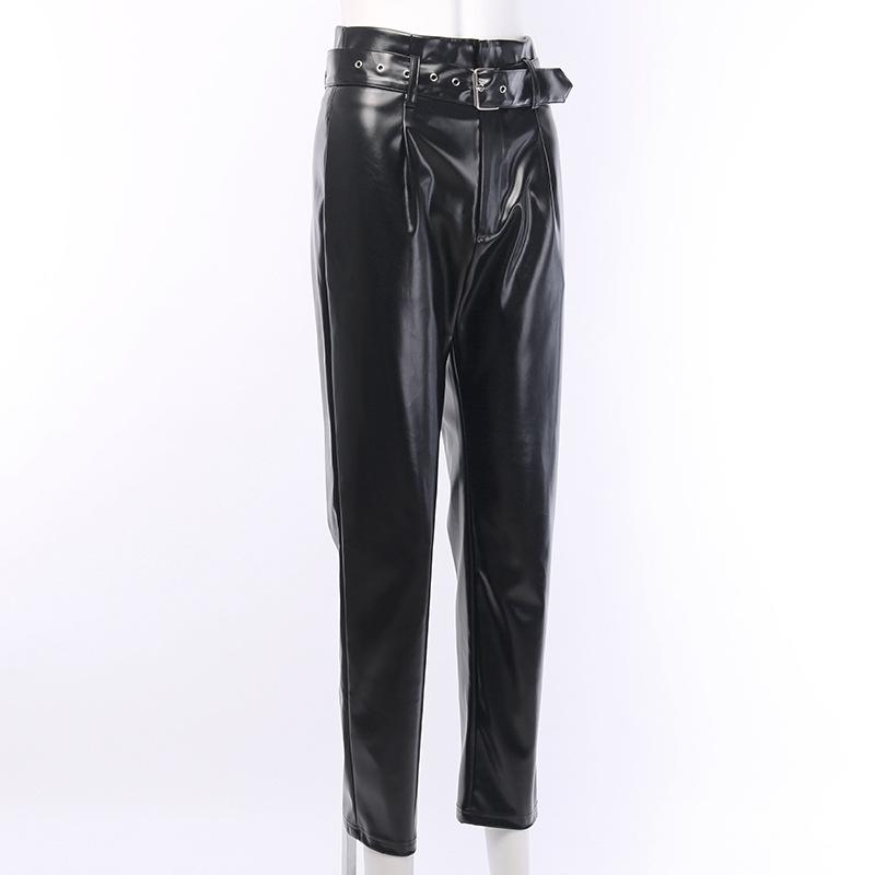 PU Leather Straight Legs Belted Casual Trousers - Asia-Peak