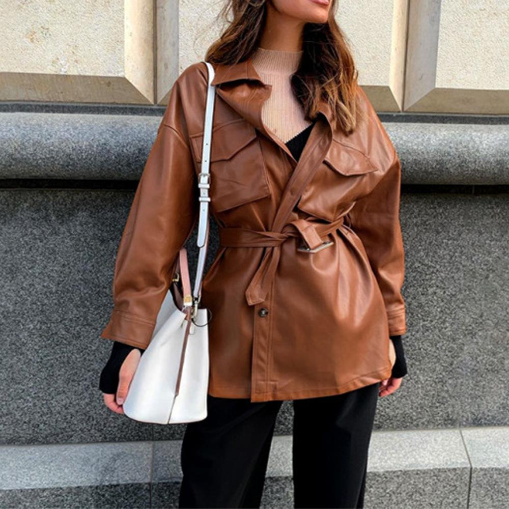 Oversized PU Leather Jacket Short Dress With Belt