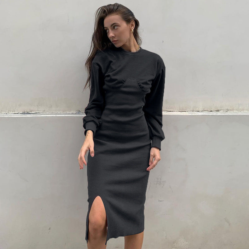 Elegant Ribbed Patchwork Slit Midi Dress
