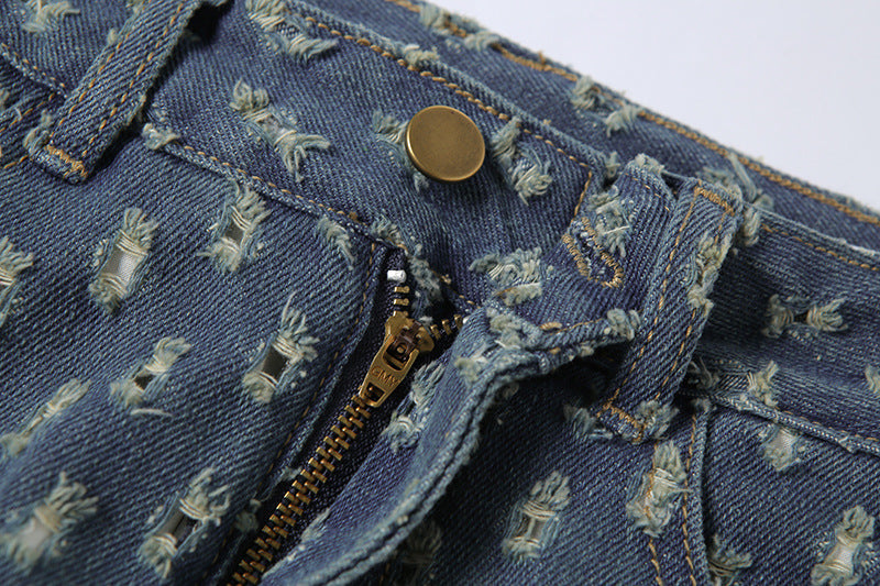 Fashion Plaid Hollow out Hip hop Jeans