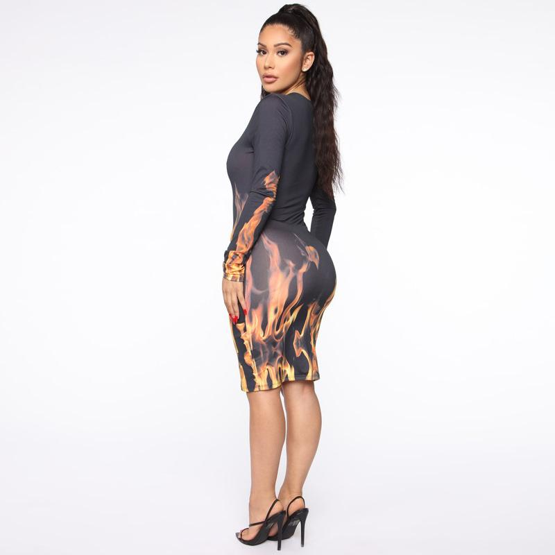 Flame Printed Skinny Sexy Party Dresses - Asia-Peak