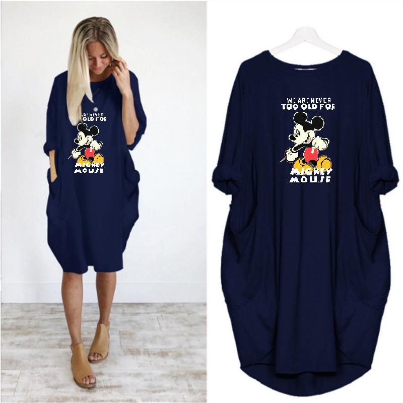 Mickey Mouse Printed Pocket Casual Dress—Multiple Colour