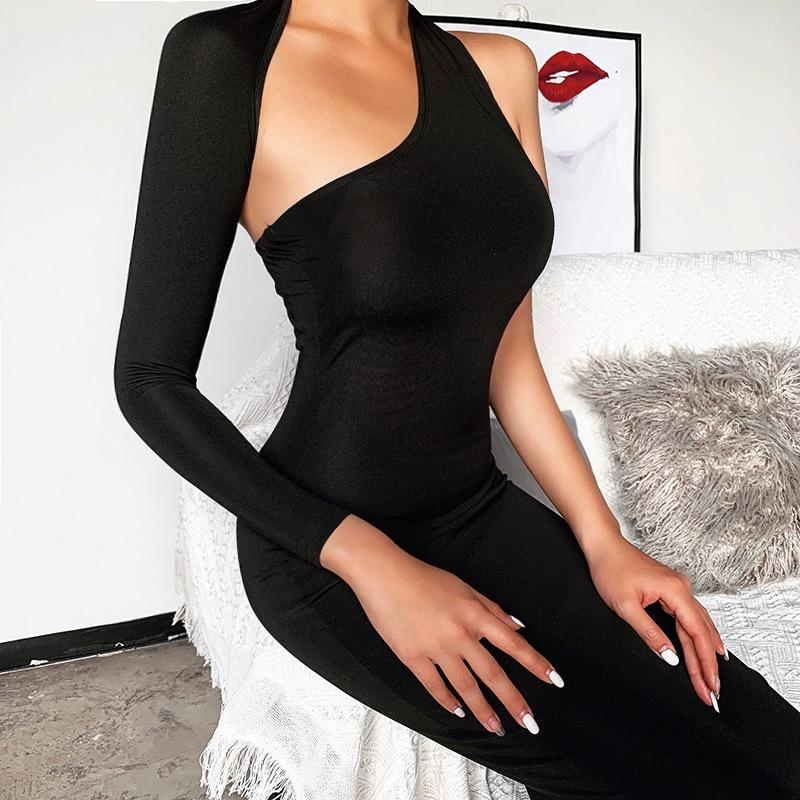 One-shoulder slim midi dress