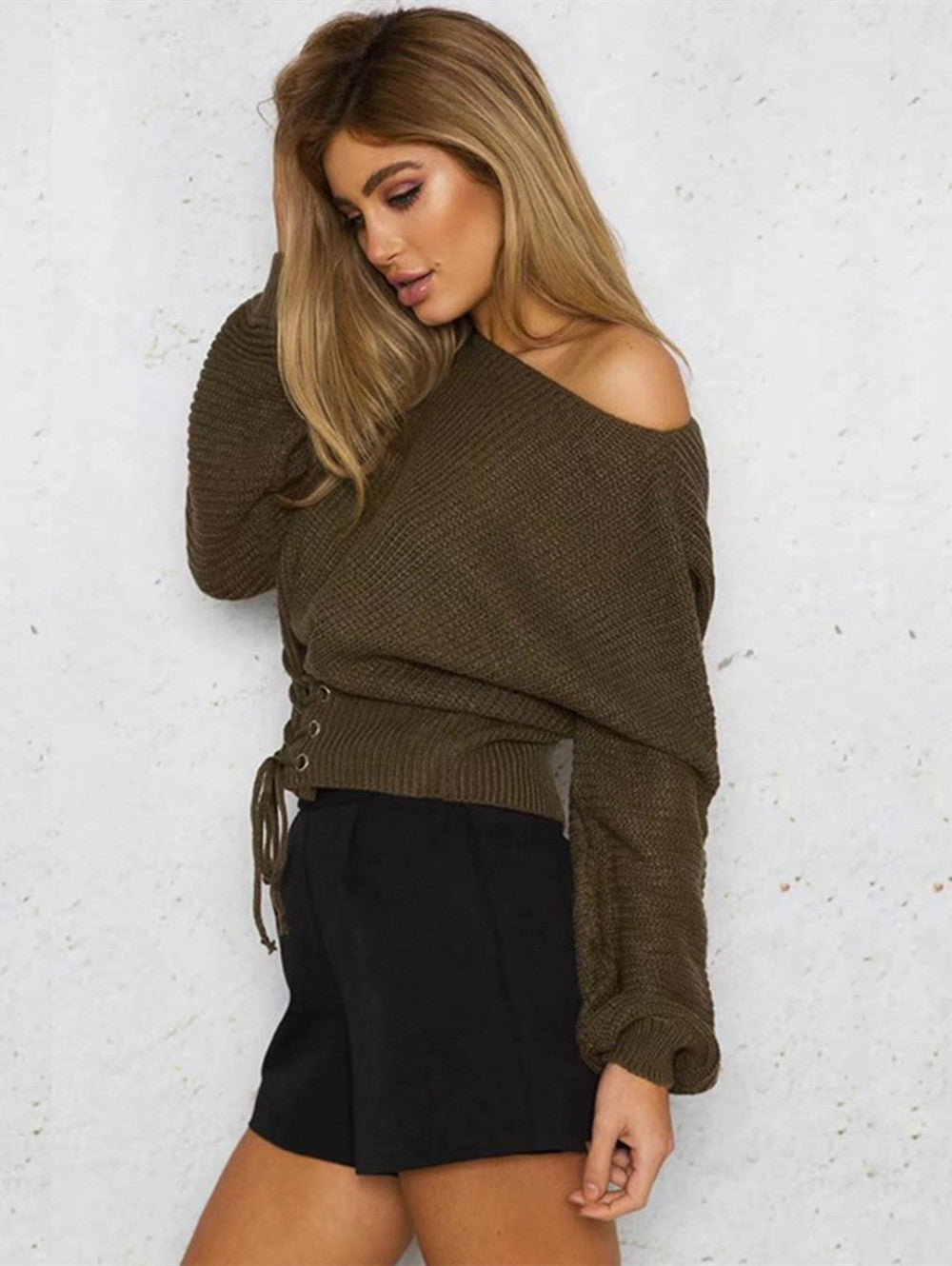 Sexy Slim-fit with Long-sleeved Waist Bandage Sweater