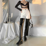 Panelled PU Leather High Waist Pants
