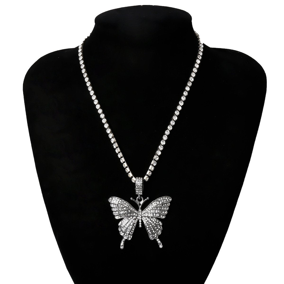 Butterfly Pendant Necklace Shiny Rhinestone Chain - Asia-Peak