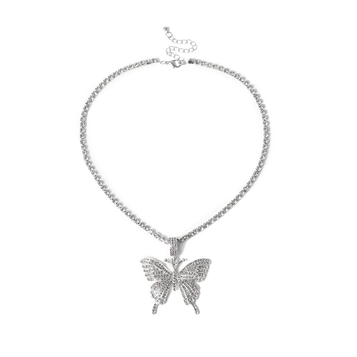Butterfly Pendant Necklace Shiny Rhinestone Chain