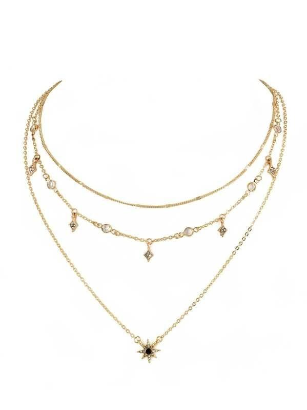 2020 New Fashion Star Charm Layered Chain Necklace - Asia-Peak