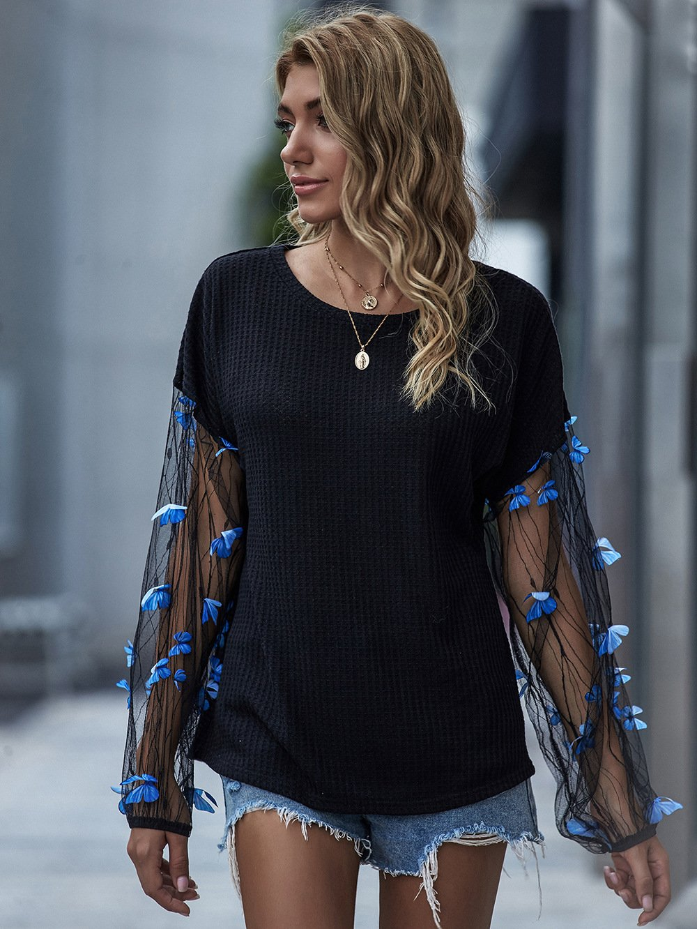 Lantern Sleeve Butterfly Mesh Patchwork Tops