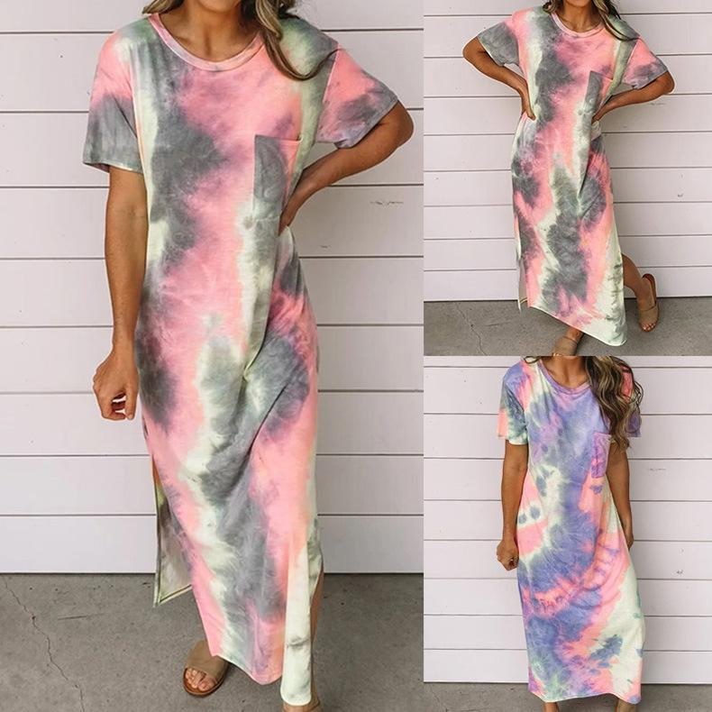 2020 Summer Women's New Tie-Dye Printed Dress - Asia-Peak