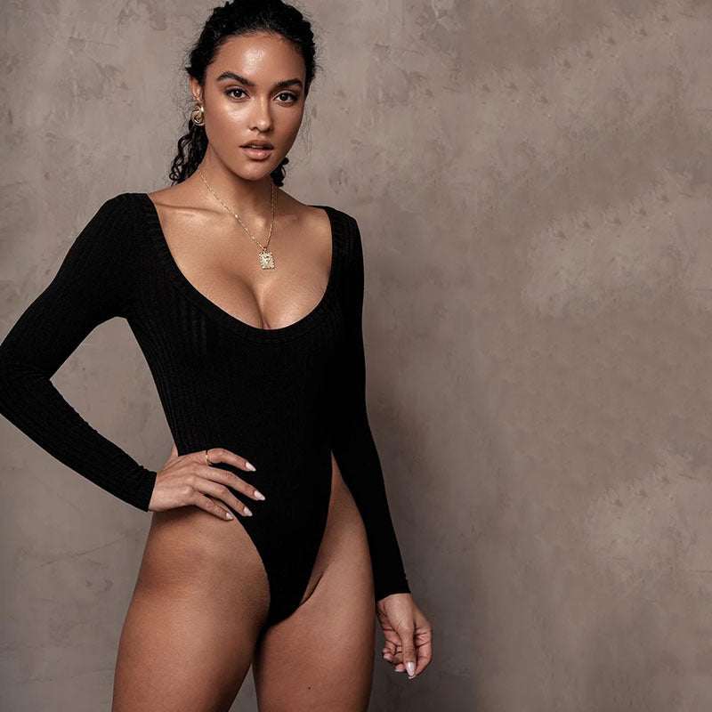 Sexy cotton tight-fitting long-sleeved bodysuit