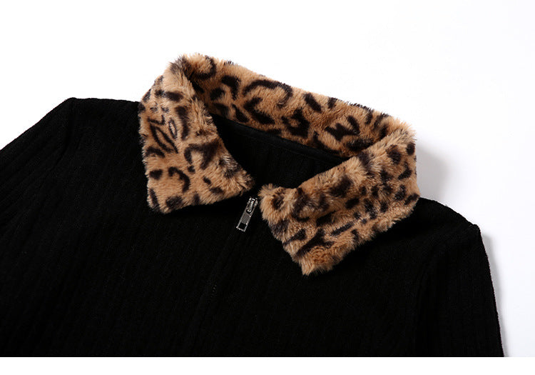 Fashionable Leopard High Quality Rib knit Coat