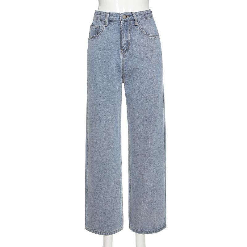 Back Lace-Up Straight Denim Pants - Asia-Peak