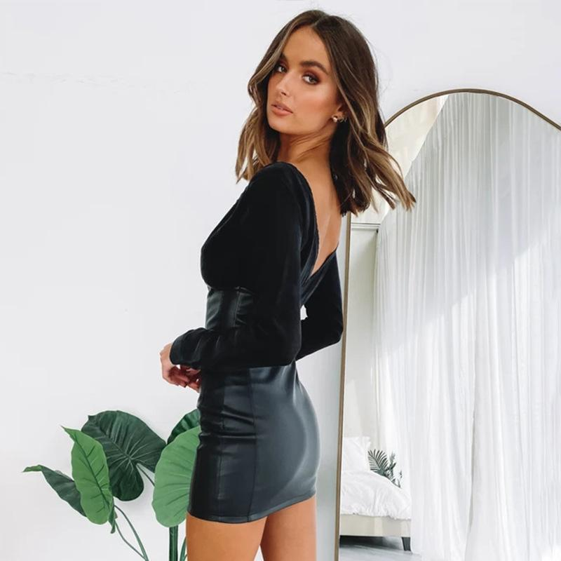 Long Sleeve v-neck PU Leather Bodycon Dress - Asia-Peak