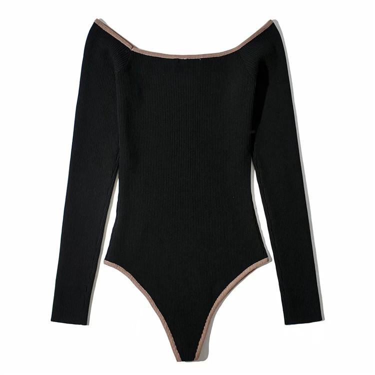 Knitted solid color bodysuit