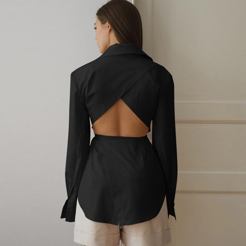 Solid color single-breasted backless shirt - Asia-Peak