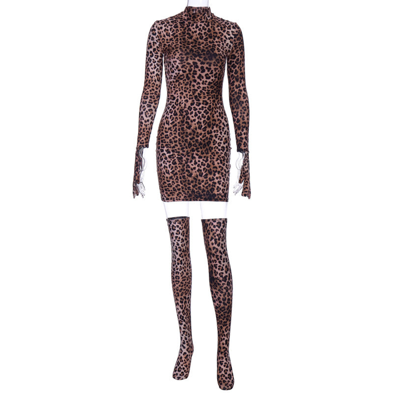 Hot Leopard Party Mini Dress(with gloves and stocking)