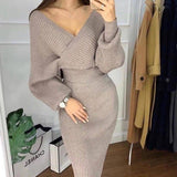 Elegant V-neck Knitted Batwing Dress Two-piece