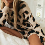 Autumn Leopard Print Casual Sweater Two Piece Set - Asia-Peak