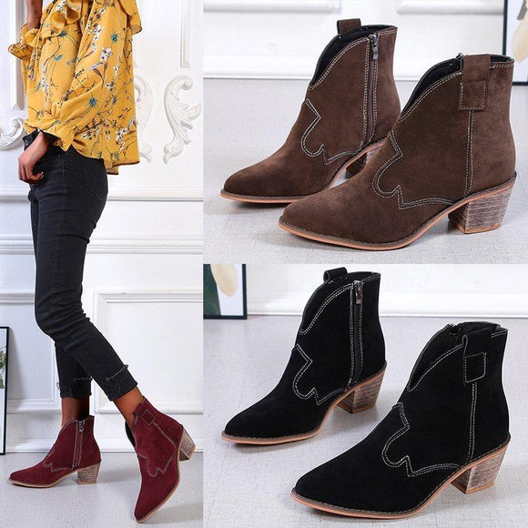Retro Rome Suede Pointed Boots